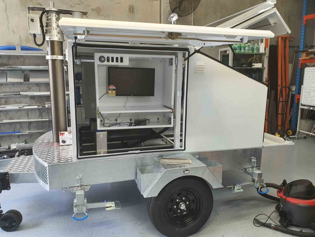 Solar powered security camera trailer towing capabilities